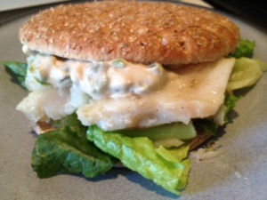 Grilled Chilean Sea Bass Sandwich with Homemade Tartar Sauce