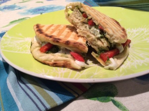 Chicken Panini with Pesto, Roasted Red Peppers and Fresh Mozzarella Cheese